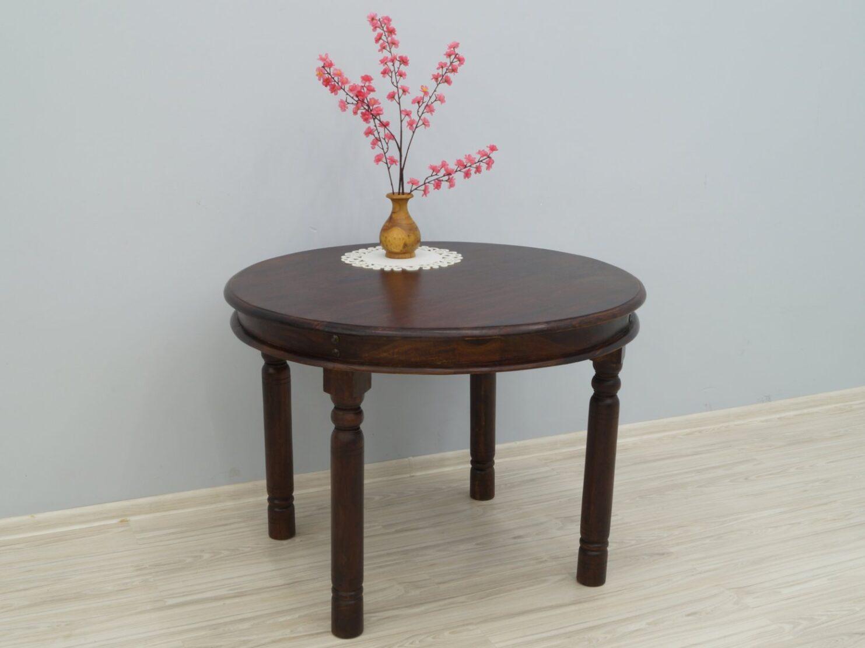 Stół kolonialny lite drewno palisander indyjski okrągły