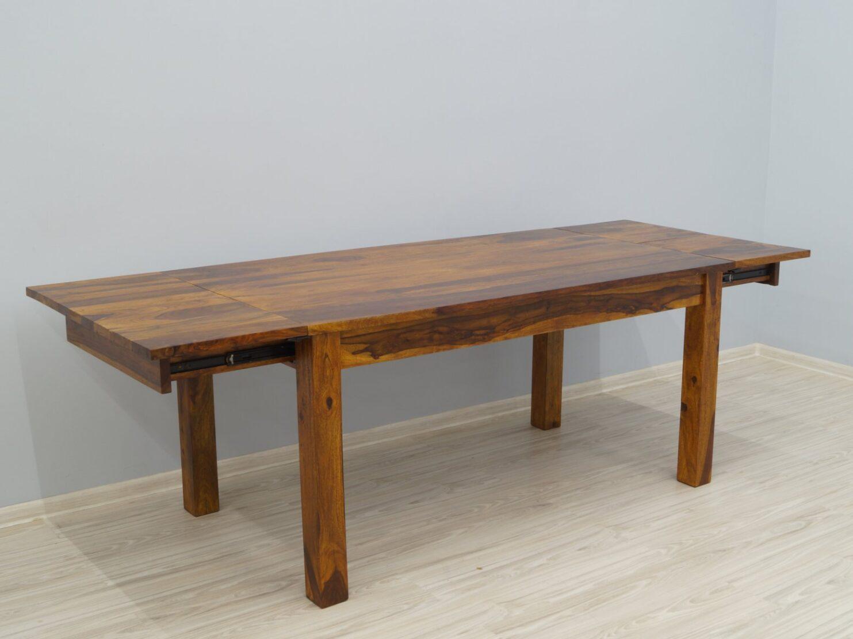 Stół rozkładany lite drewno palisander indyjski miodowy brąz ręcznie wytworzony masywny
