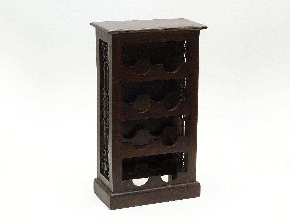 Stojak na wino kolonialny lite drewno palisander indyjski z metaloplastyką ciemny brąz