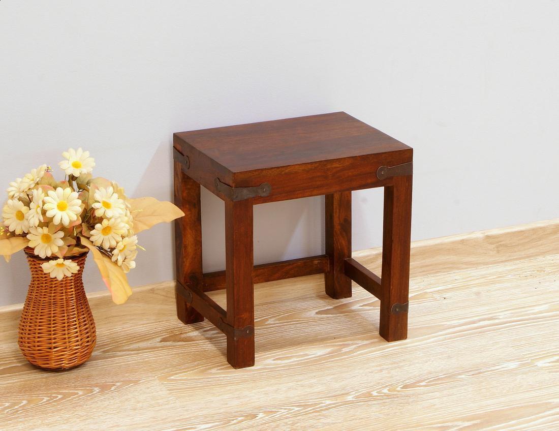 Stoliczek stołek taboret kolonialny lite drewno palisander indyjski metalowe okucia