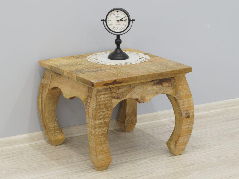 Stolik kawowy kolonialny lite drewno mango kwadratowy wygięte nogi styl Loft