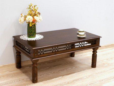 Stolik kawowy kolonialny lite drewno palisander indyjski elementy z metaloplastyki