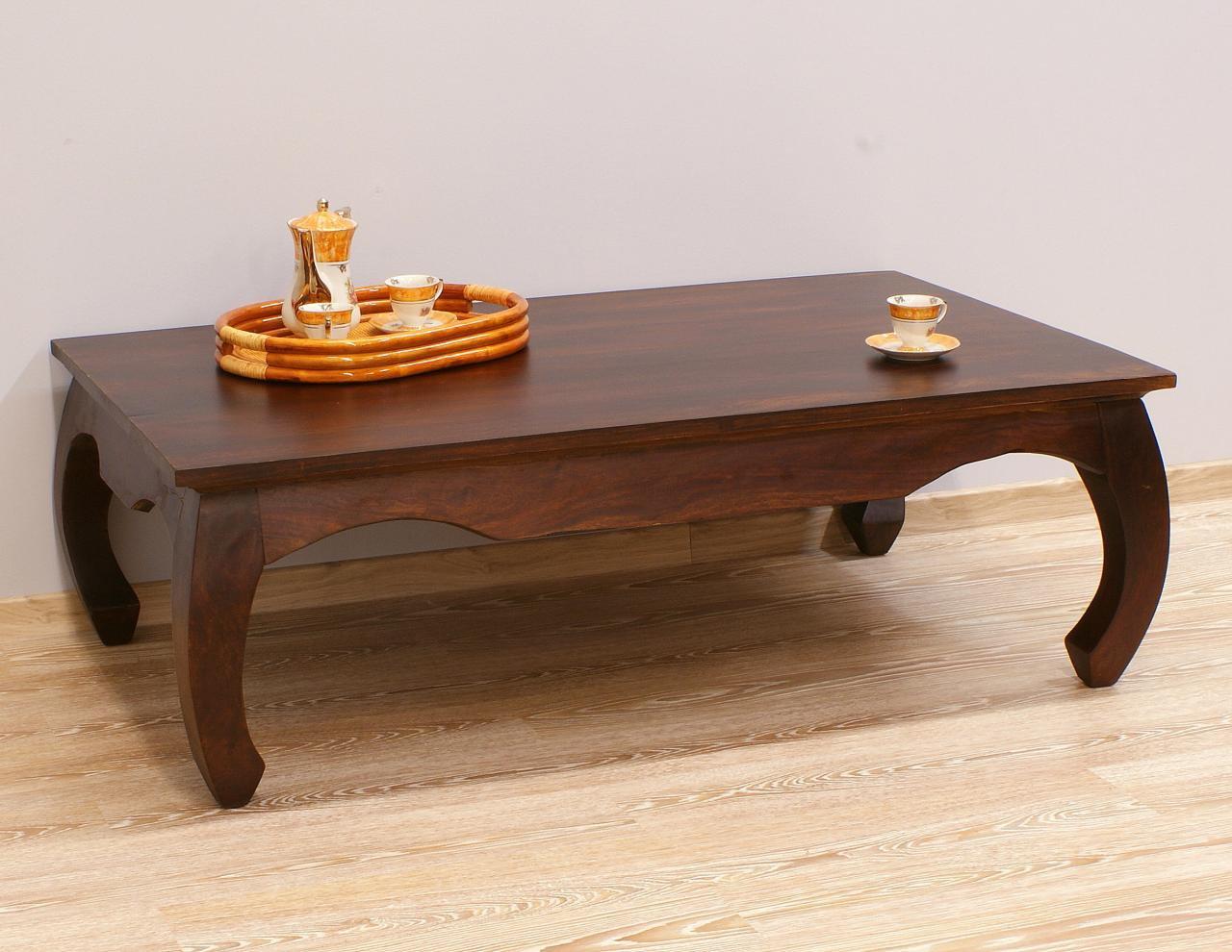 Stolik kawowy kolonialny lite drewno palisander indyjski gięte nogi ciemny brąz klasyczny