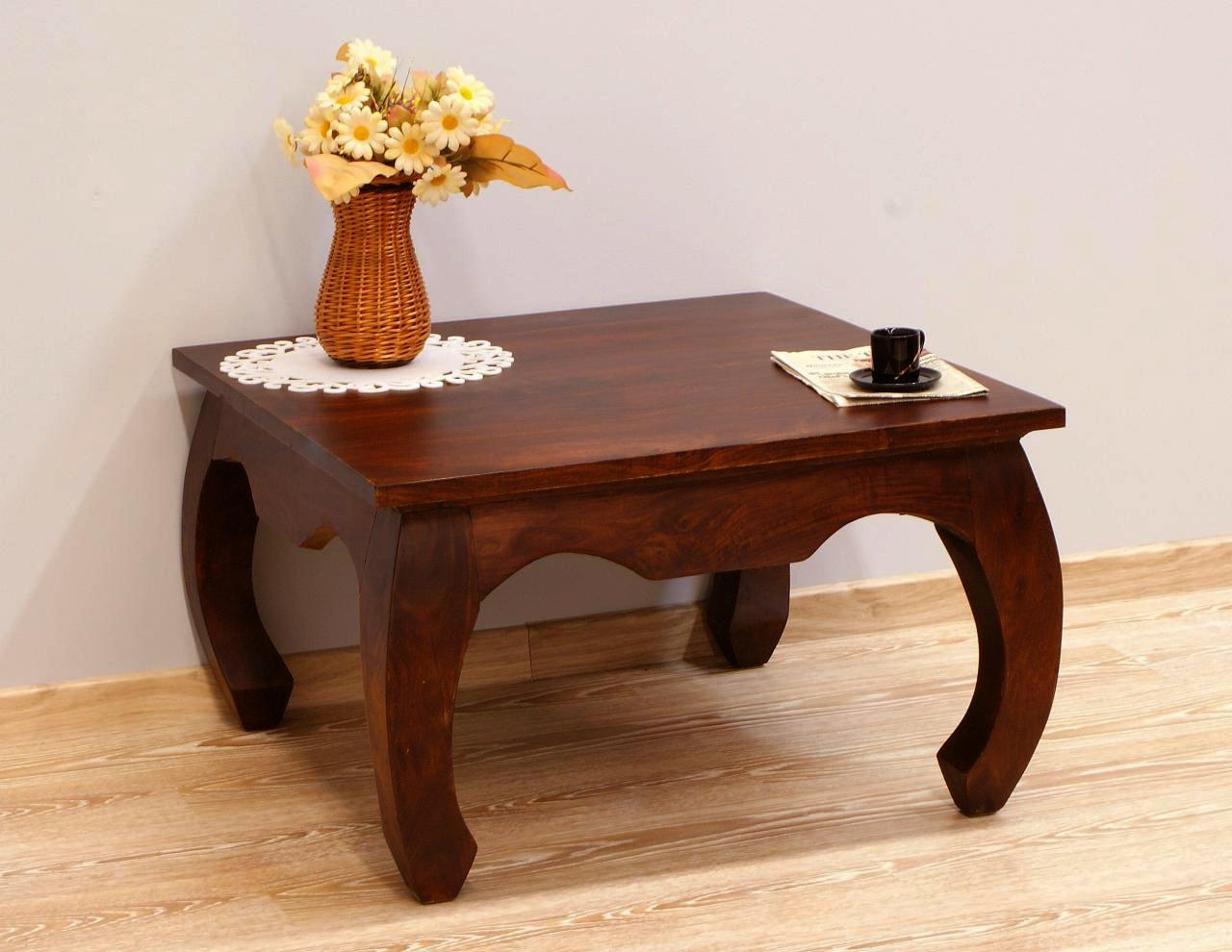 Stolik kawowy kolonialny lite drewno palisander indyjski gięte nogi ciemny brąz kwadratowy klasyczny