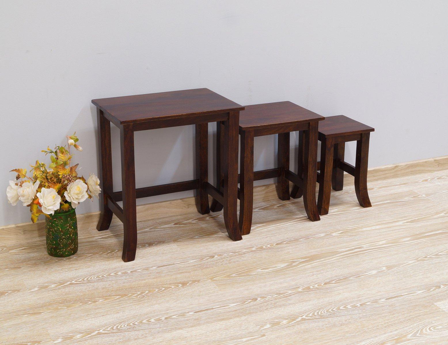 Stolik kawowy kolonialny lite drewno palisander indyjski gięte nogi ciemny brąz zestaw 3 sztuk