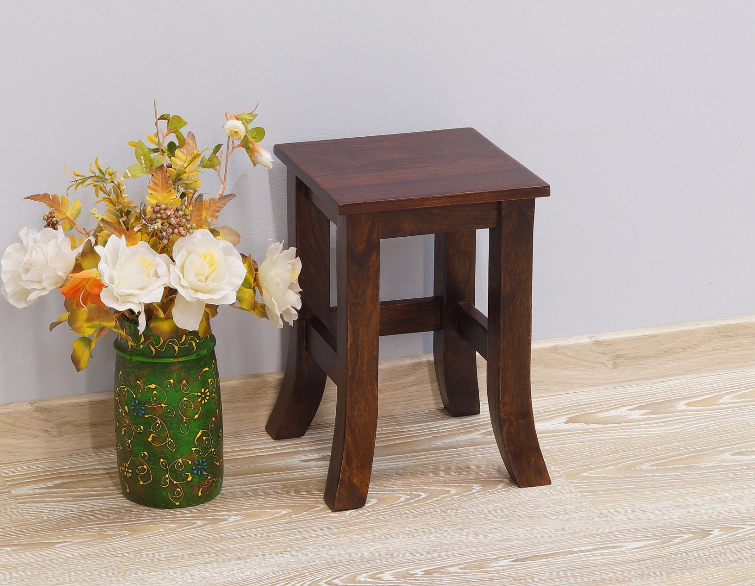 Stolik kawowy kolonialny lite drewno palisander indyjski gięte nogi mały ciemny brąz