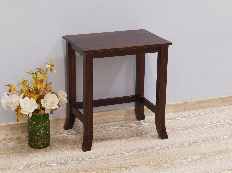Stolik kawowy kolonialny lite drewno palisander indyjski klasyczny gięte nogi ciemny brąz