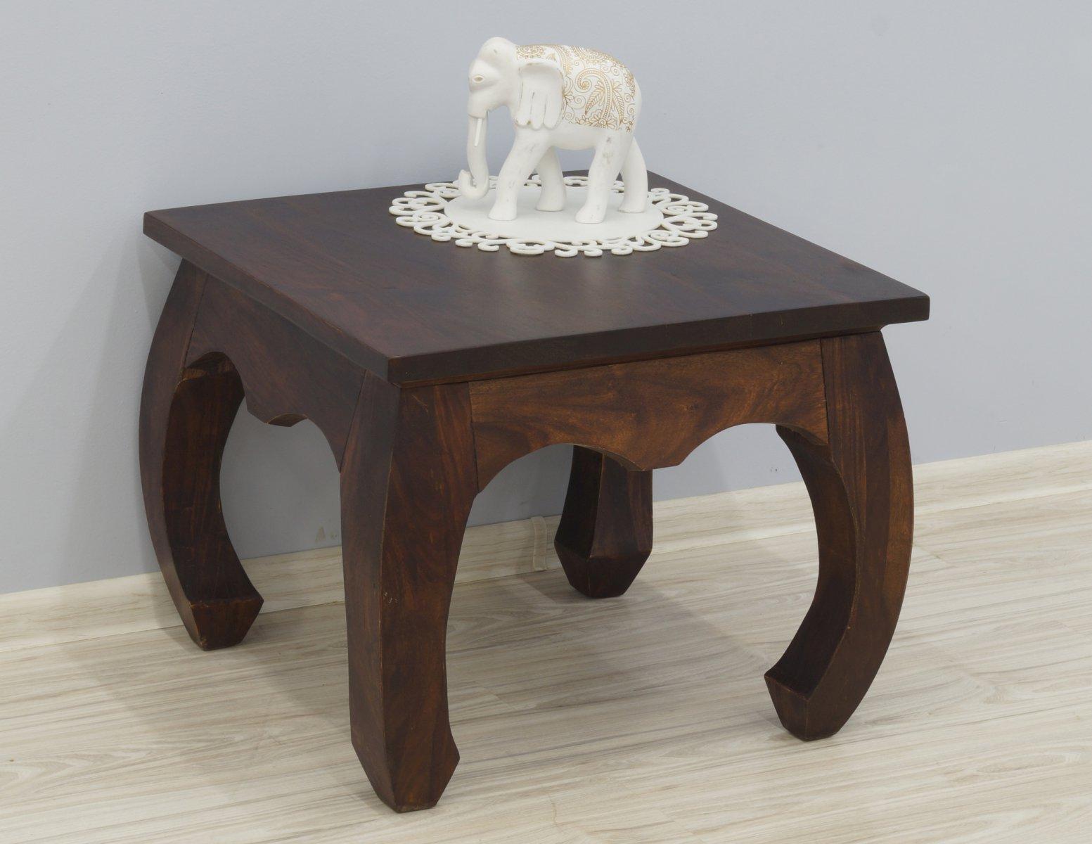 Stolik kawowy kolonialny lite drewno palisander indyjski kwadratowy stylowy gięte nogi ciemny brąz