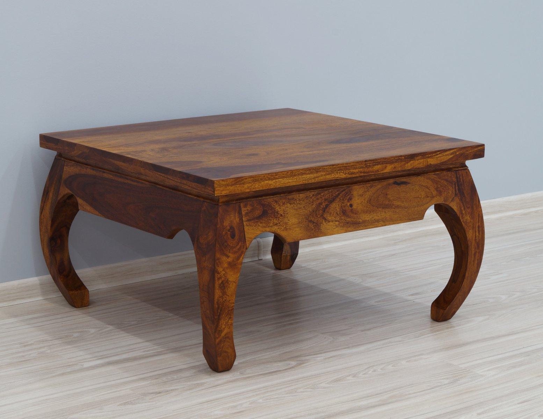 Stolik kawowy kolonialny lite drewno palisander indyjski miodowy brąz