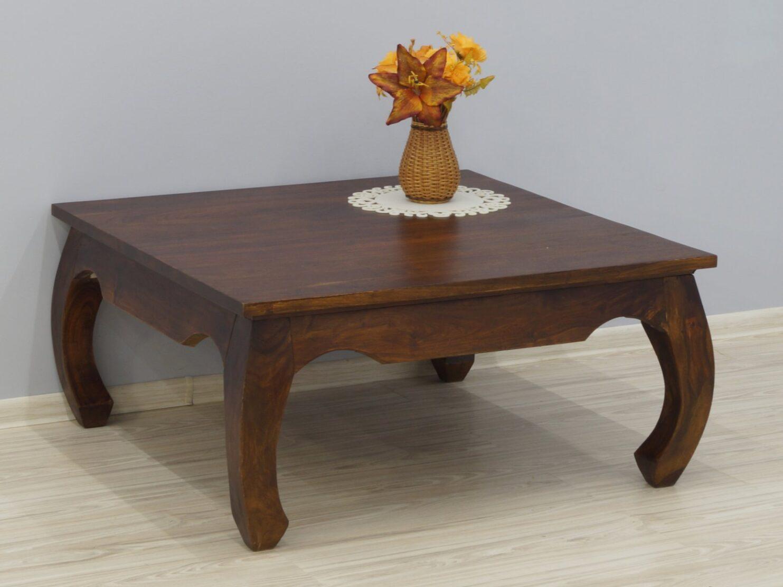 Stolik kawowy kolonialny lite drewno palisander indyjski nogi styl opium