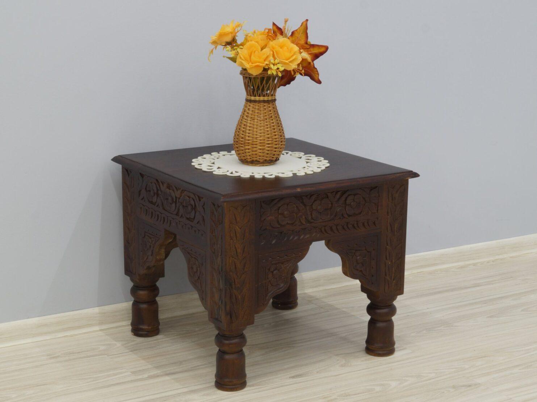 Stolik kawowy kolonialny lite drewno palisander indyjski rzeźbiony toczone nogi