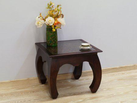 Stolik kawowy kolonialny lite drewno palisander indyjski rzeźbiony z szybą gięte nogi