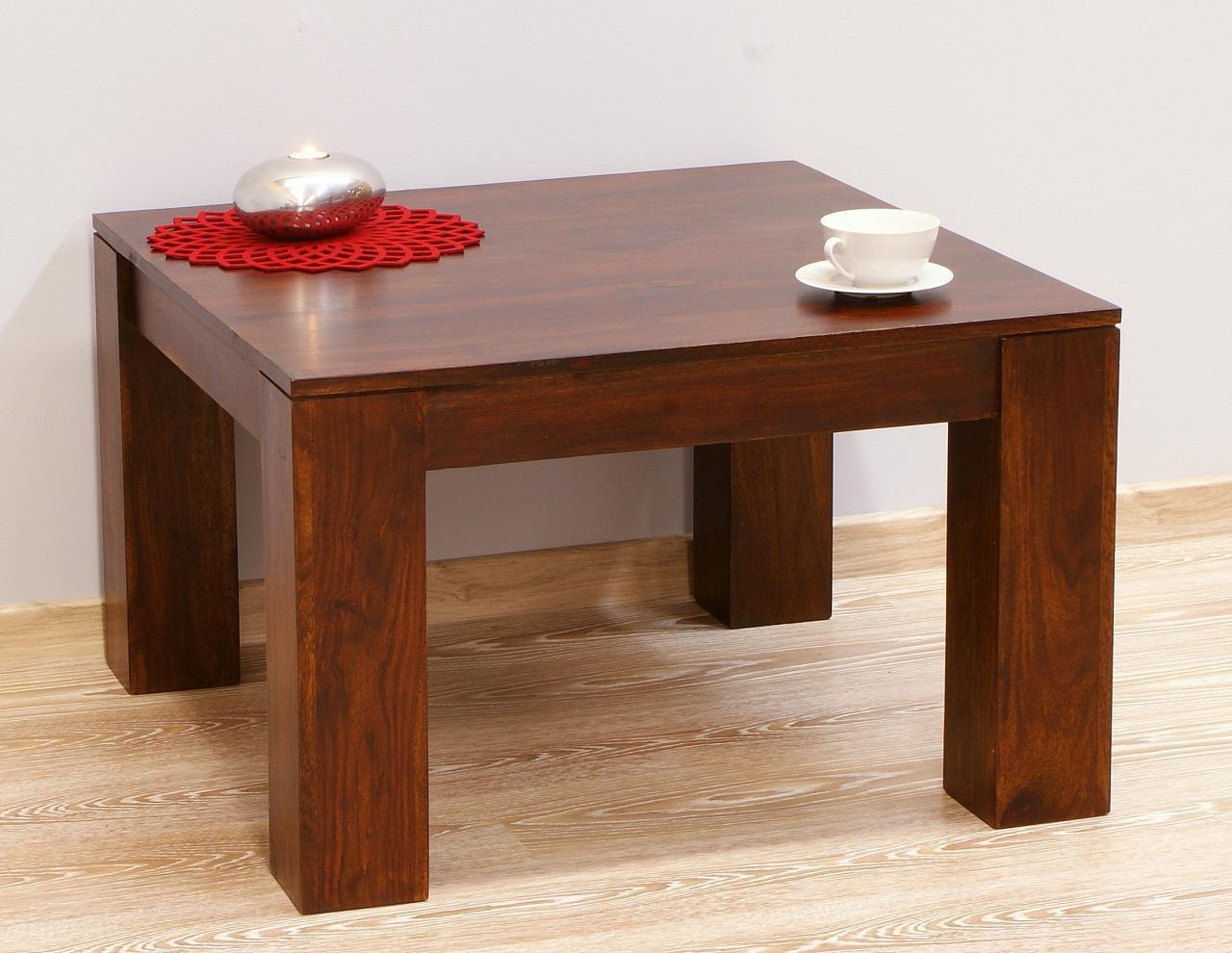 Stolik kawowy kolonialny z litego drewna palisandru indyjskiego ciemny brąz nowoczesny