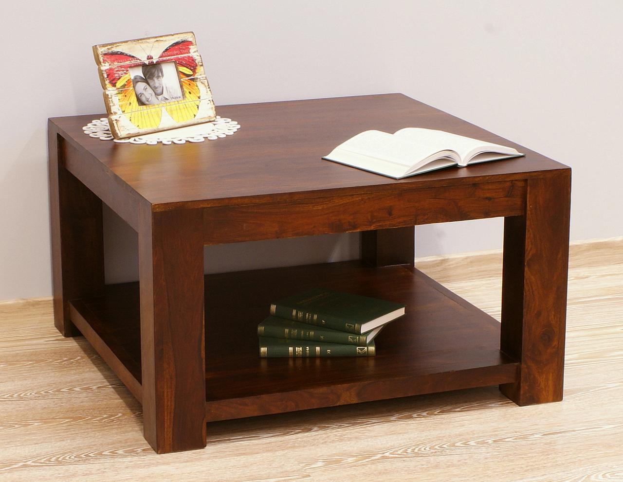 Stolik kawowy kolonialny z litego drewna palisandru indyjskiego ciemny brąz nowoczesny z półką