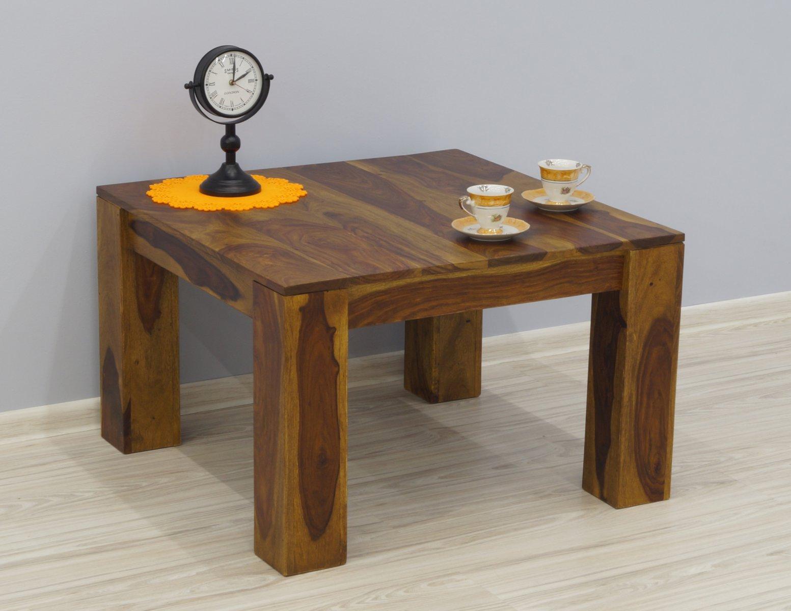 Stolik kawowy kolonialny z litego drewna palisandru indyjskiego jasny brąz nowoczesny