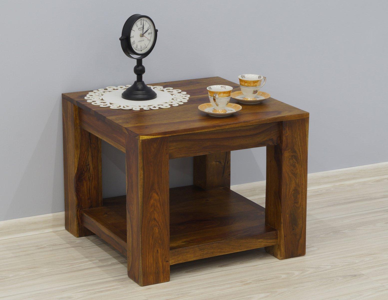 Stolik kawowy kolonialny z litego drewna palisandru indyjskiego z półką jasny brąz nowoczesny
