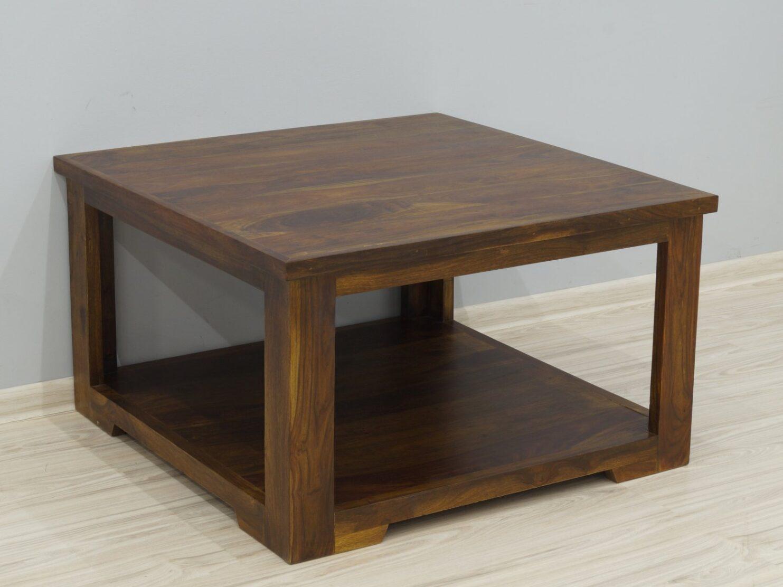 Stolik kawowy kolonialny z litego drewna palisandru indyjskiego z półką nowoczesny