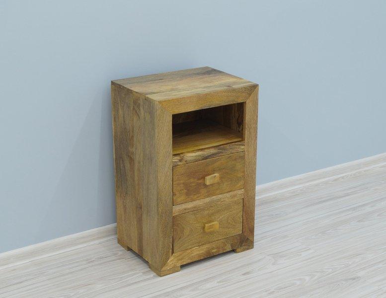 Szafka nocna lite drewno mango 2 szuflady wnęka styl Loft
