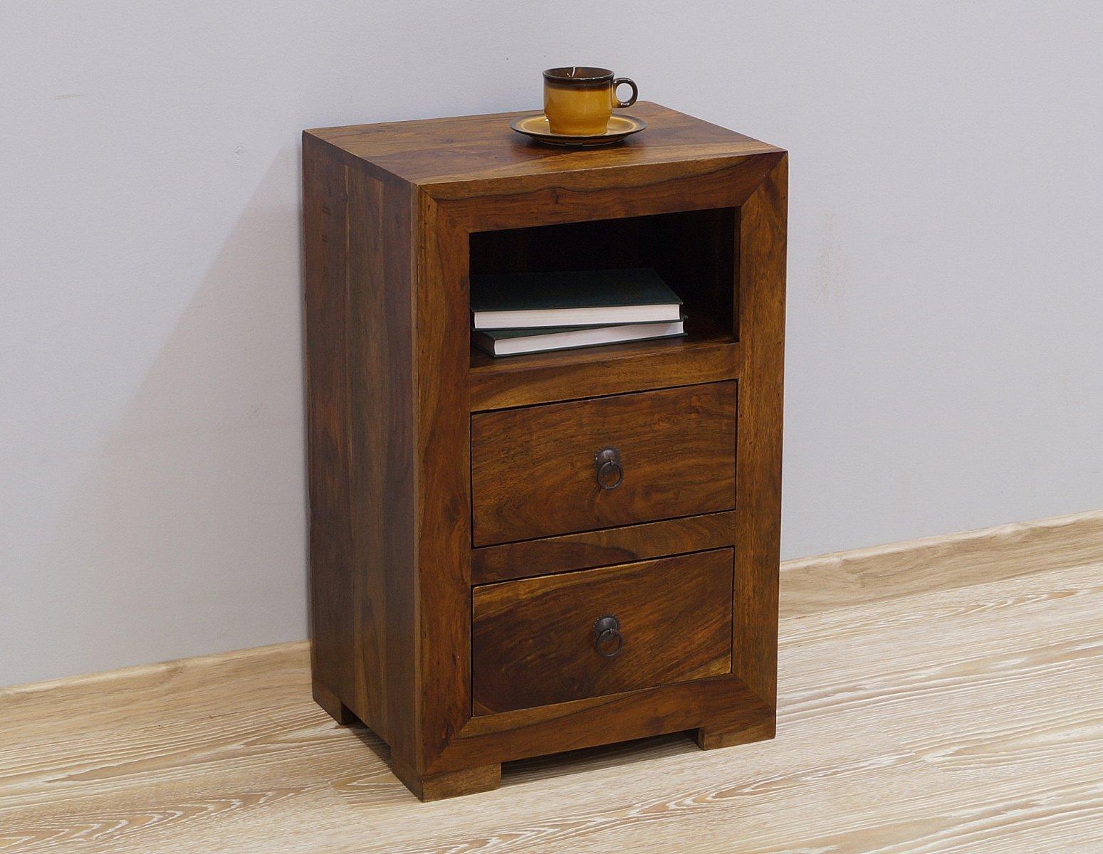 Szafka nocna lite drewno palisander indyjski ciemny brąz dwie szuflady wnęka nowoczesna