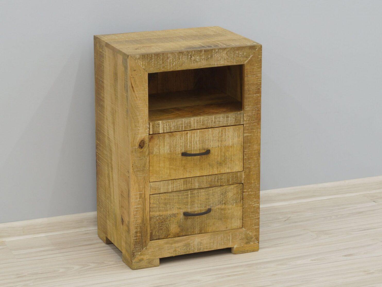 Szafka nocna stolik nocny lite drewno mango 2 szuflady wnęka styl Loft