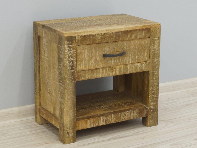 Szafka nocna stolik nocny lite drewno mango styl Loft z szufladą i półką