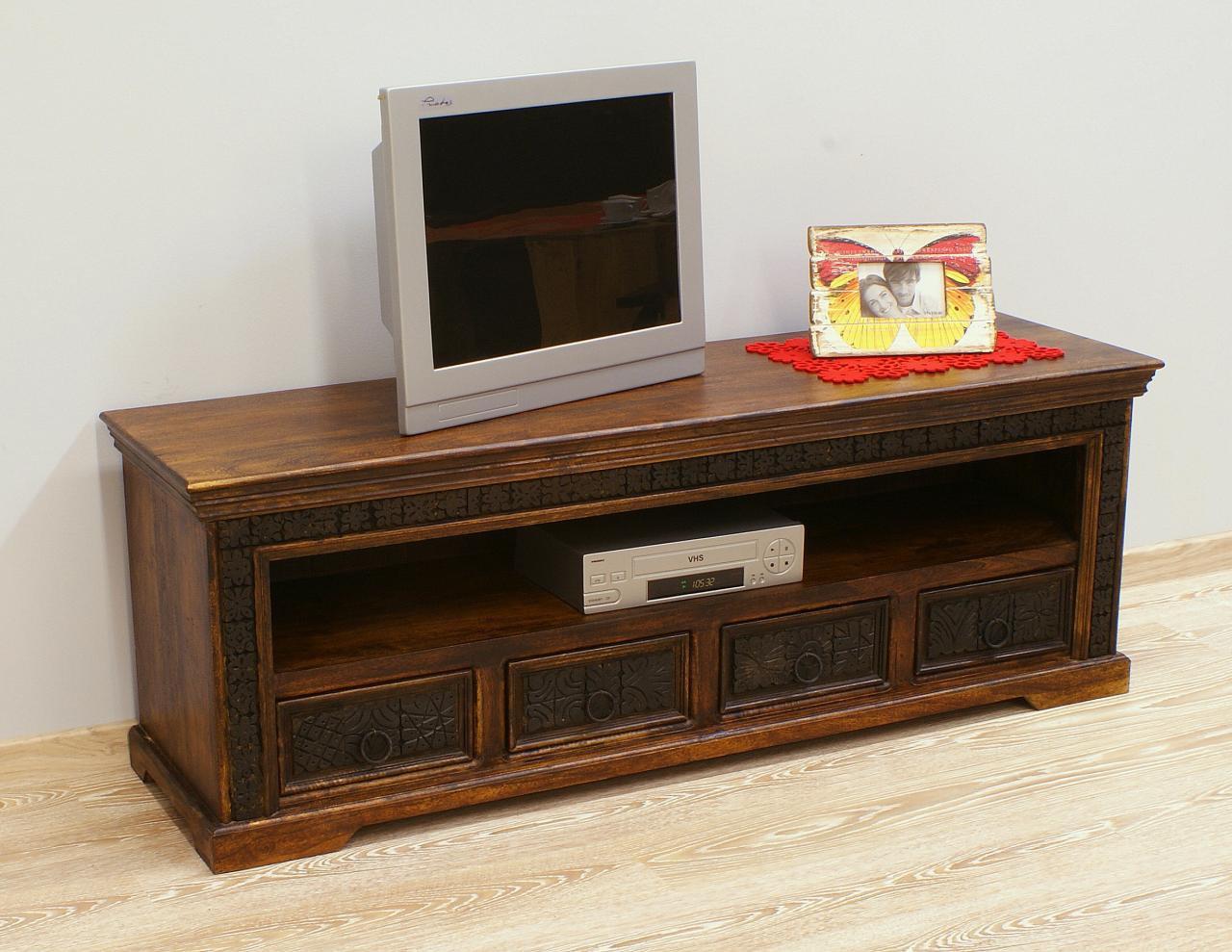 Szafka pod telewizor komoda RTV kolonialna indyjska lite drewno akacja indyjska rzeźbiona 4 szuflady