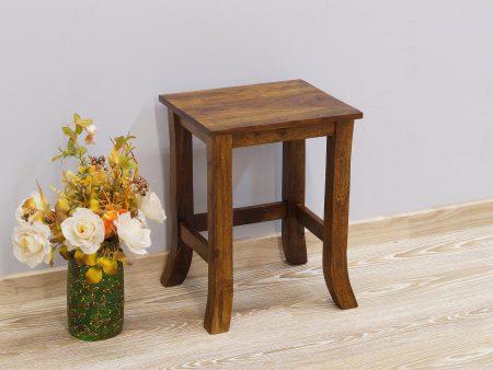 Taboret kolonialny stolik stołek lite drewno palisander indyjski średni gięte nogi