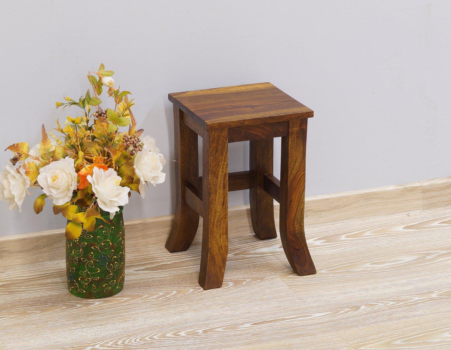 Taboret kolonialny stolik stołek lite drewno palisander indyjski niski gięte nogi
