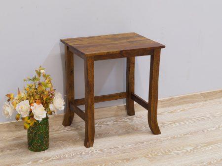 Taboret kolonialny stolik stołek lite drewno palisander indyjski wysoki gięte nogi