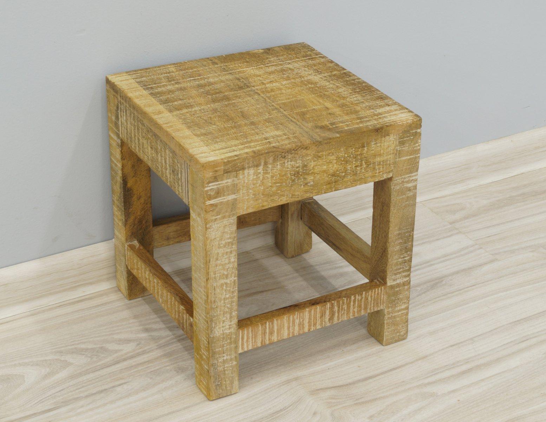 Taboret stołek stoliczek kolonialny lite drewno mango styl Loft