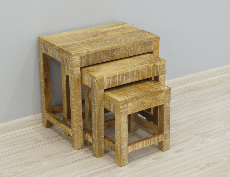 Taboret stolik stołek kolonialny lite drewno mango styl Loft zestaw 3 sztuk