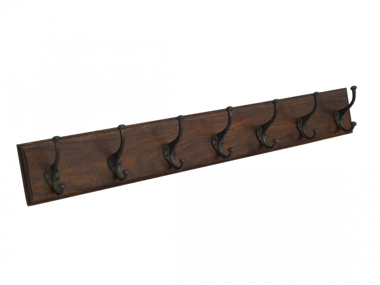 Wieszak kolonialny ścienny palisander indyjski 7 haków ciemny brąz