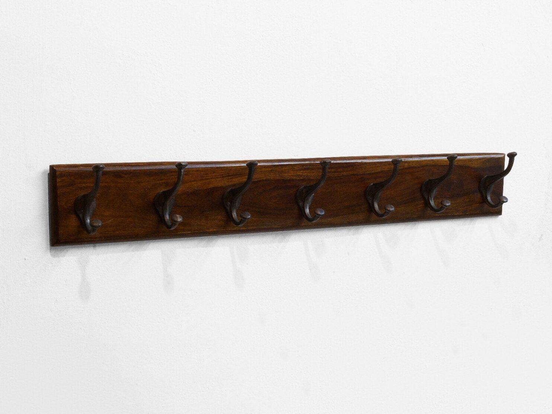 Wieszak kolonialny ścienny palisander indyjski 7 haków jasny brąz