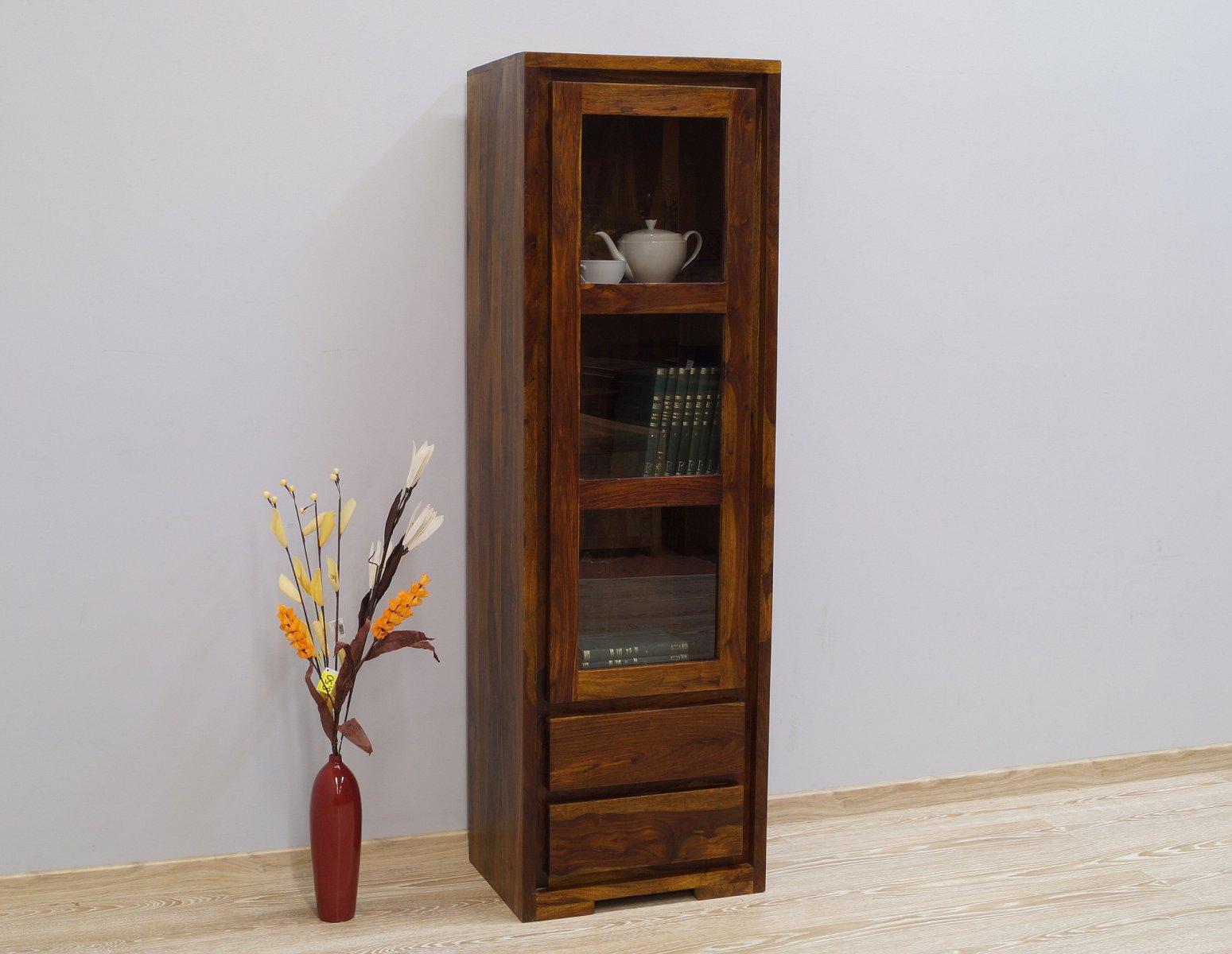 Witryna kolonialna słupek lite drewno palisander indyjski nowoczesny jasny brąz