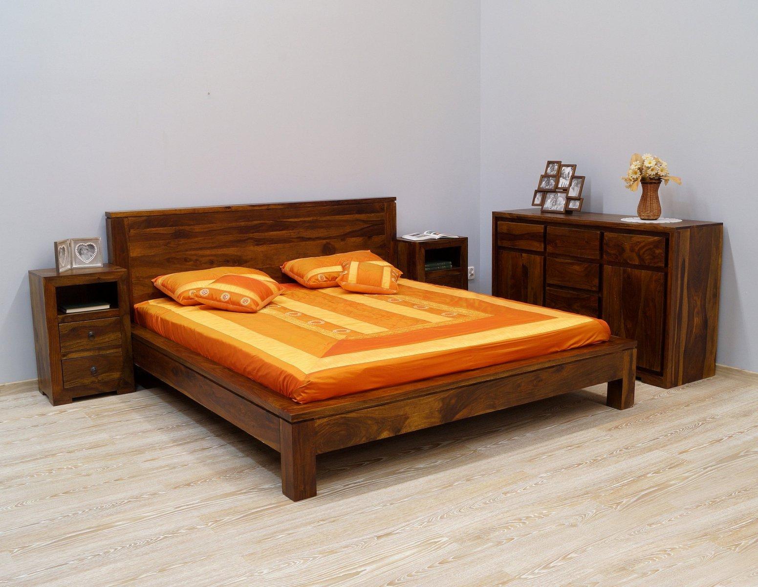 Łóżko kolonialne lite drewno palisander indyjski jasnobrązowe nowoczesne