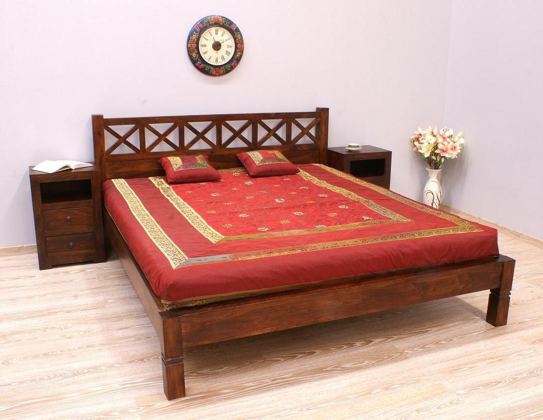 Łóżko kolonialne lite drewno palisander indyjski modernistyczne ażurowe wezgłowie
