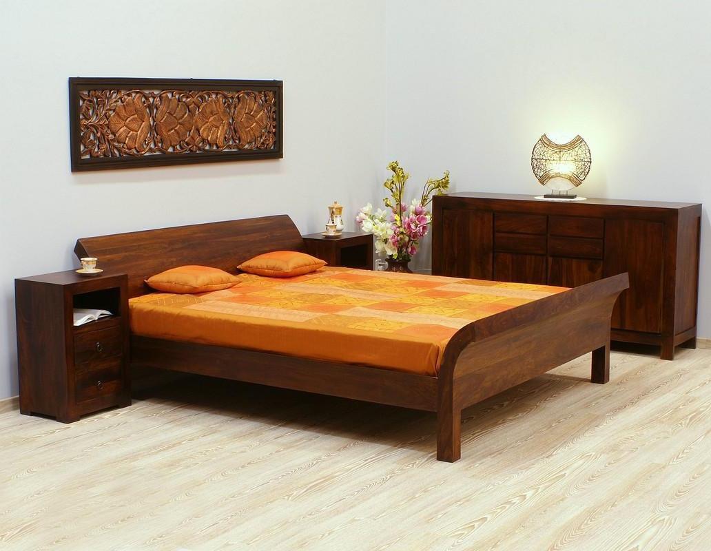 Łóżko kolonialne lite drewno palisander indyjski modernistyczne unikatowe