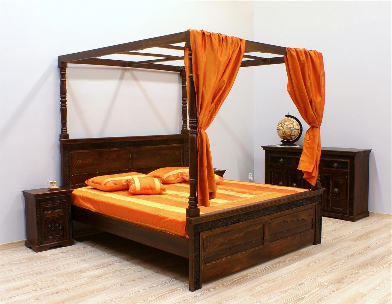Łóżko kolonialne lite drewno palisander indyjski ręcznie rzeźbione ciemny brąz z baldachimem