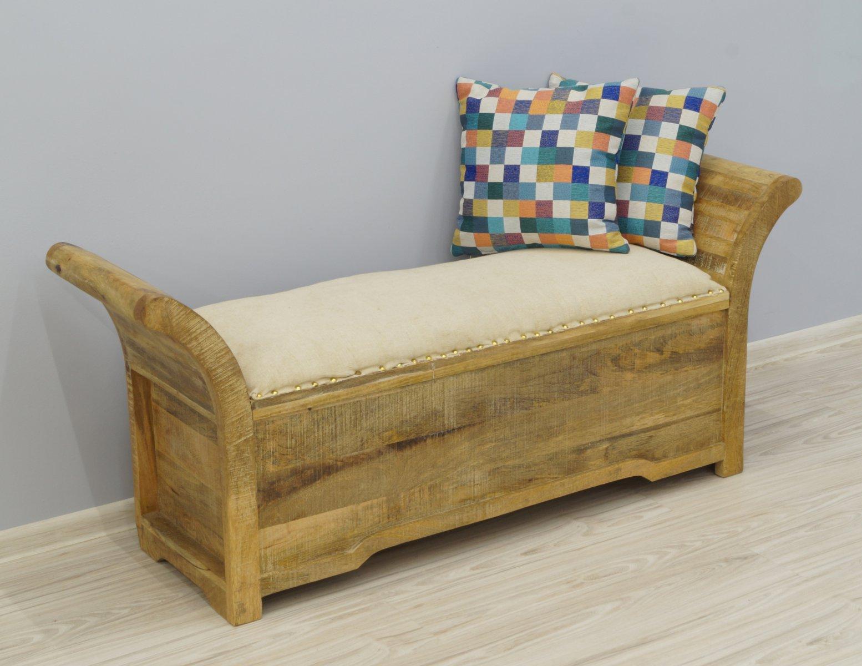 Ławka kolonialna lite drewno mango ze schowkiem i tapicerowanym siedziskiem