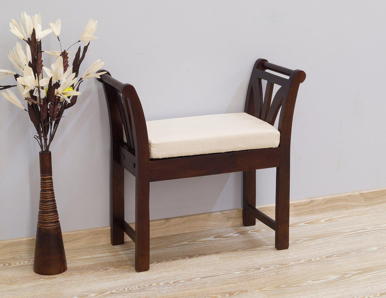 Ławka kolonialna lite drewno palisander indyjski ciemny brąz klasyczna z poduszką