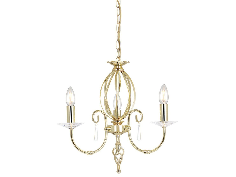 Żyrandol w klasycznym stylu 3 źródła światła wykończony w odcieniu polerowanego mosiądzu