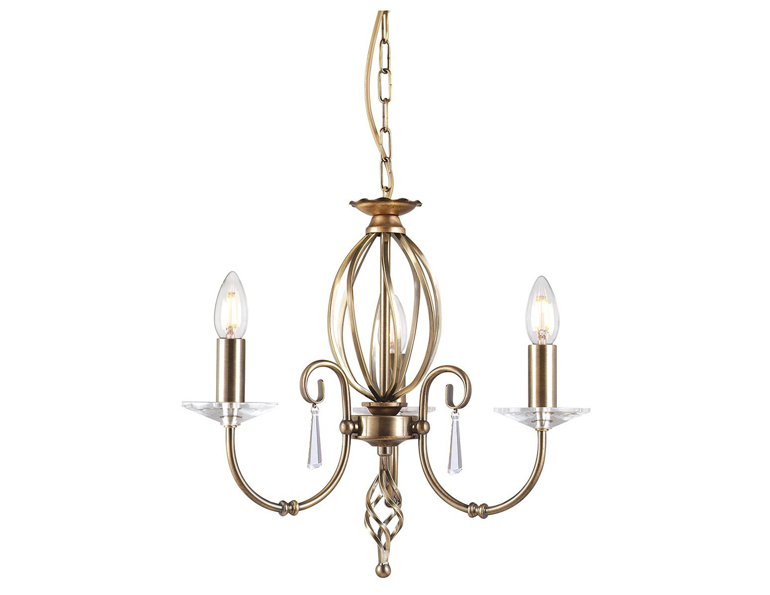Żyrandol w klasycznym stylu 3 źródła światła wykończony w odcieniu postarzanego mosiądzu
