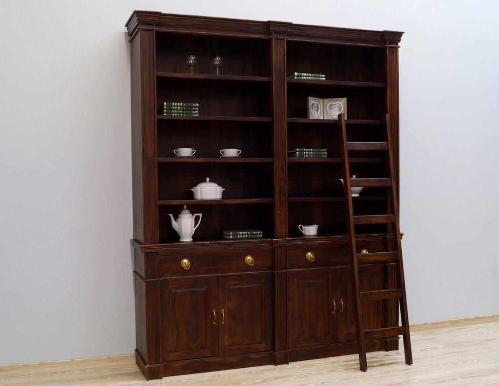 Biblioteka kolonialna lite drewno palisander indyjski ciemny brąz klasyczny