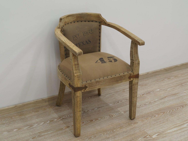 Fotel kolonialny tapicerowane siedzisko oparcie lite drewno mango styl Loft
