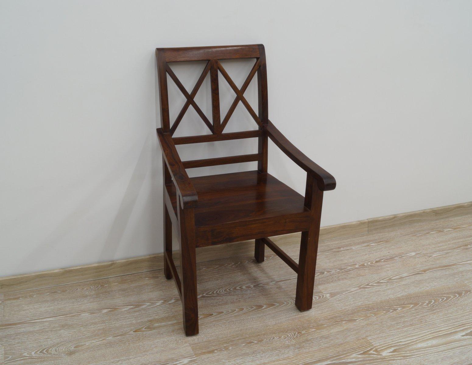 Fotel kolonialny z podłokietnikami lite drewno palisander indyjski ciemny brąz