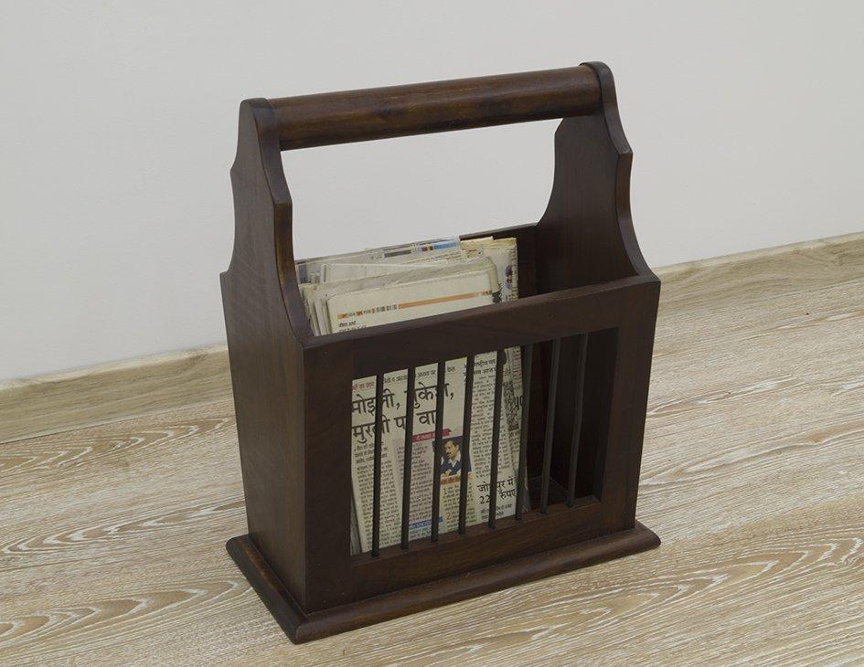 Gazetnik stojak na gazety lite drewno palisander indyjski ciemny brąz