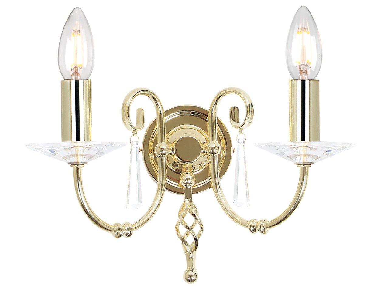 Kinkiet lampa ścienna dwuramienna klasyczna polerowany mosiądz