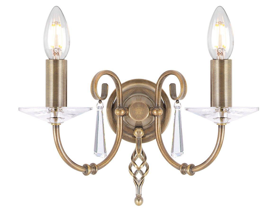 Kinkiet lampa ścienna dwuramienna klasyczna postarzana mosiądz