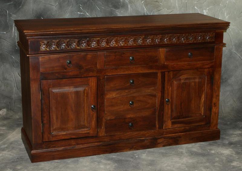 Komoda indyjska lite drewno palisander ręcznie rzeźbiona masywna ciemny brąz