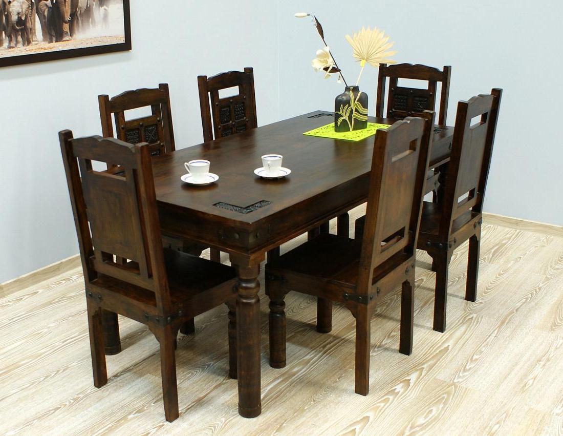 Komplet obiadowy indyjski stół + 6 krzeseł lite drewno akacja indyjska rzeźbione